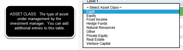 Drop down from ASSET CLASS table.