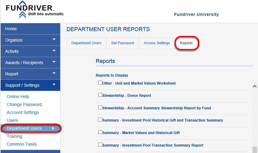In the Fundriver interface, navigate to SUPPORT/SETTINGS > DEPARTMENT USERS.  Click on the REPORTS tab.