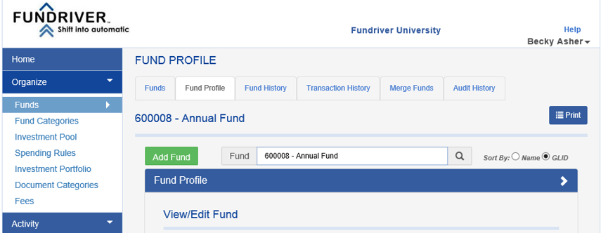 Answer:  Yes. To reactivate a fund simply go to the FUND PROFILE for that fund (under ORGANIZE > FUNDS) and scroll to the bottom of the FUND PROFILE.