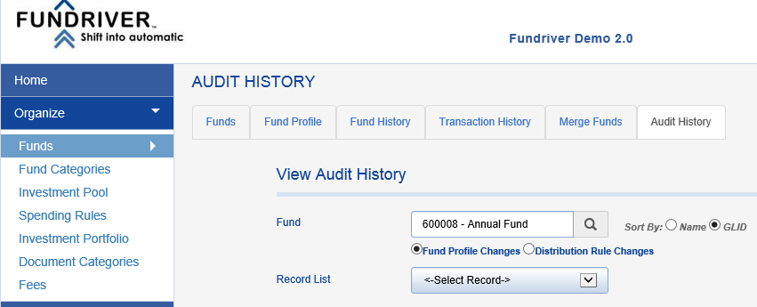 ORGANIZE > FUNDS > AUDIT HISTORY