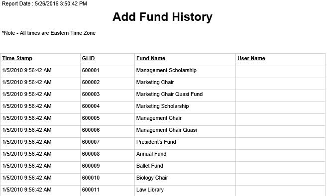 Add Fund History