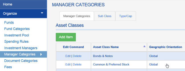 With the old Manager Module, drop downs had to be populated through the MANAGER CATEGORIES tab.