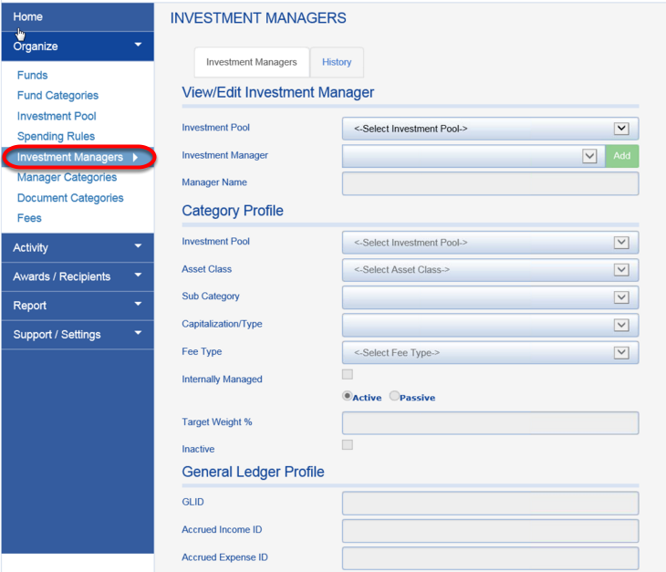 The old Manager Module is accessed through the INVESTMENT MANAGERS tab.