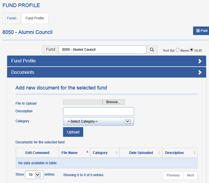 When a person with that role logs in, he or she will see a fund profile that is mostly grayed out, but the Documents section will be fully functional: