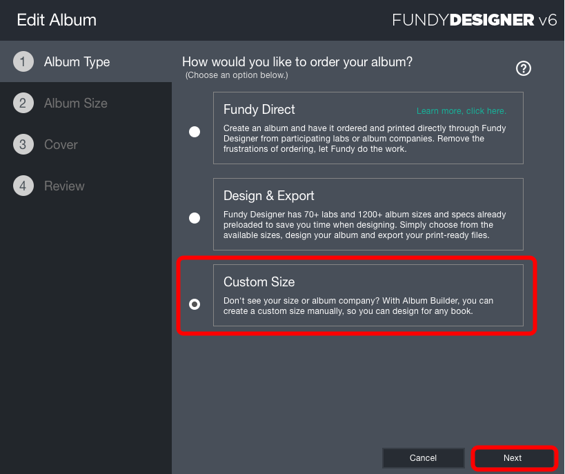 Create a Custom Size Album