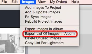 Export List Of Images In Album