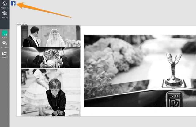 The set up is extremely easy, just click the Facebook button (available in designer view of Album Builder™, Blog Collage® and Image Brander®).