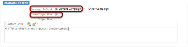 Now select what campaign to send; in this case we are going to resend the same campaign email but with a different subject line