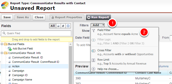 Adding a report filter