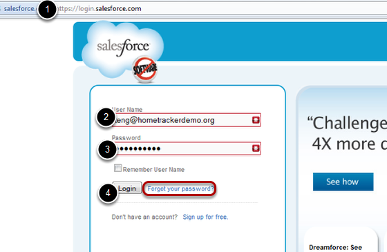 1. Open a web browser a go to login.salesforce.com