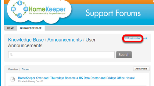 3. Subscribe to the User Announcements Forum