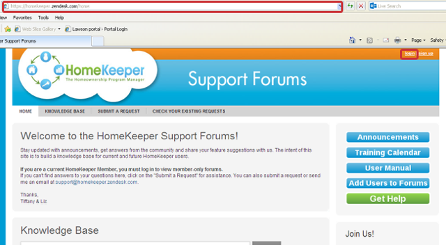 "1. Go to the HomeKeeper Support Forums at support.myhomekeeper.org or homekeeper.zendesk.com and click ""Log-In"""