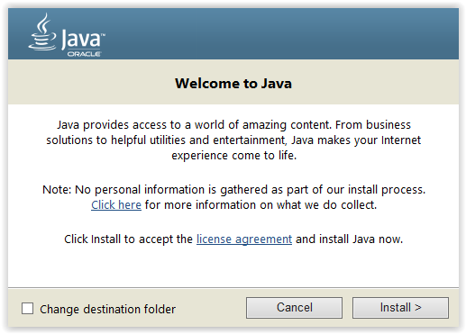Click to Install Java