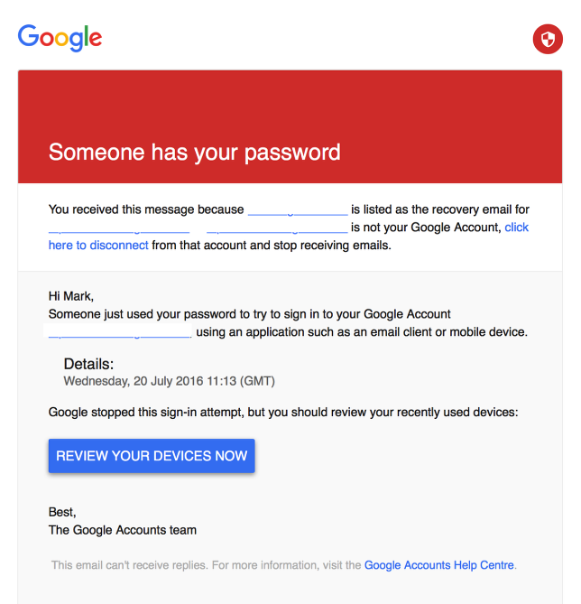 Email sent to Back-up Account
