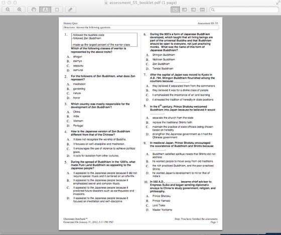 Generate Assessment Booklet