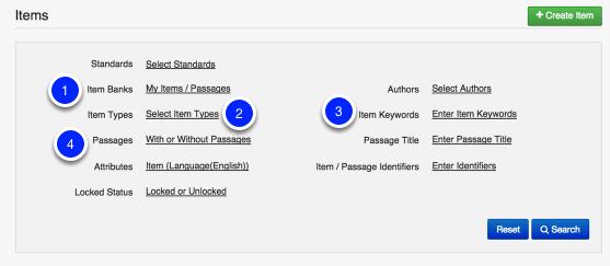 Select Item Search Criteria