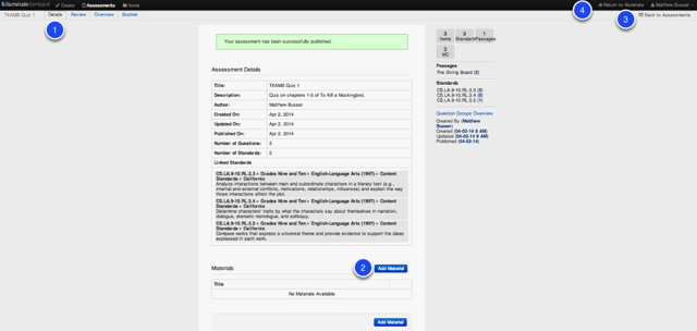 Return to Assessments Details