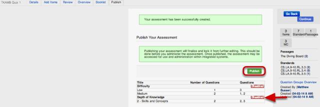 Publish Your Assessment