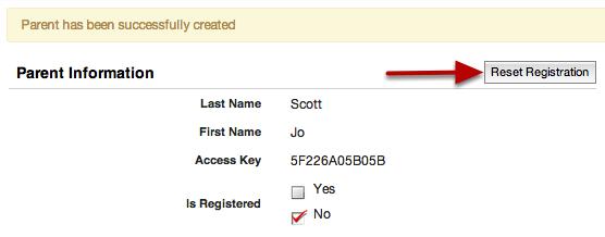 Reset Registration