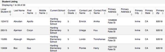 Student List Report
