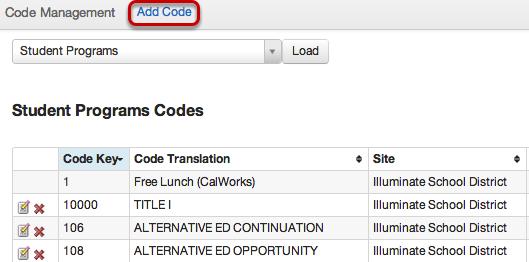 Student Programs Codes