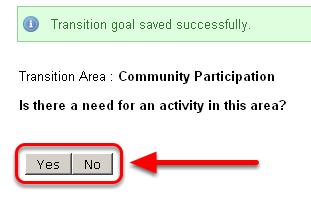 Enter Community Participation Transition Goal/Activity
