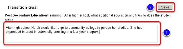 Enter Post-Secondary Education/Training Transition Goal