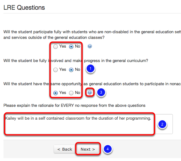 Complete IEP Wizard LRE Questions