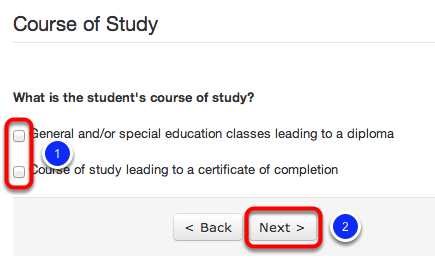 Indicate the Student's Course of Study