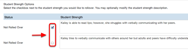 IF Student Strengths Link is Selected