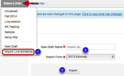 Option 3 of 3: Import Live Schedule to Create Draft Schedule