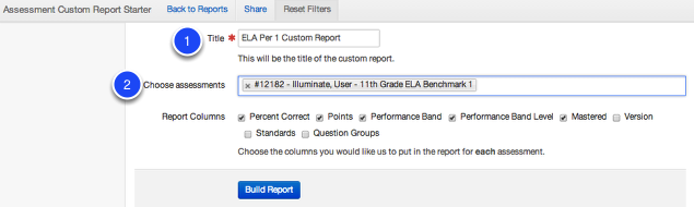 Adding Assessments to the Custom Report Starter