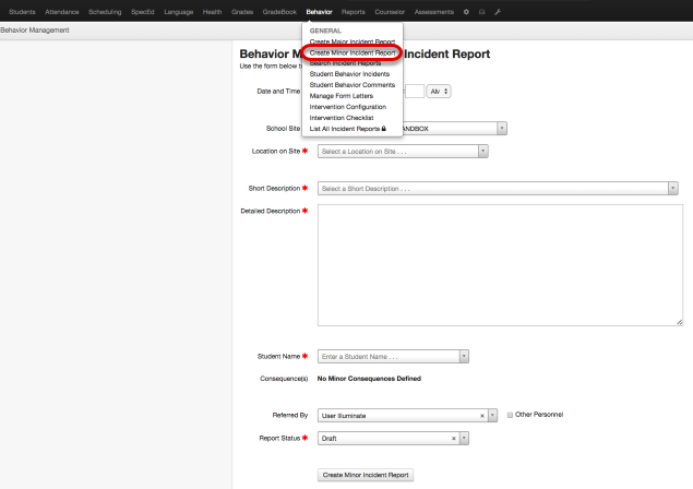 Create a New Minor Incident Report