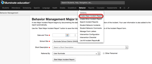 Create a New Major Incident Report