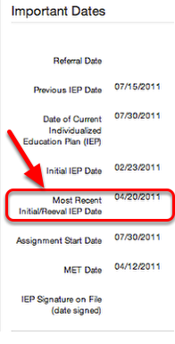 Why doesn't this date update even though I have closed my REED and published my Reeval IEP?