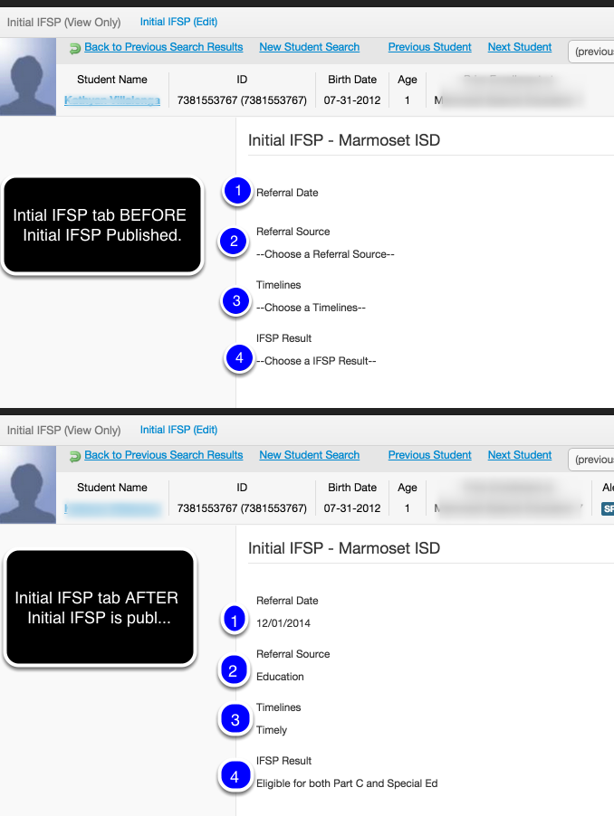 Initial IFSP Fields that are populated in the Initial IFSP tab in the Student Module