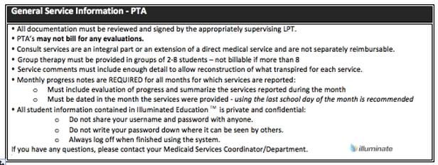 General Service Information- PTA