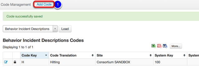 Repeat Add Code to add Additional Behavior Incident Codes