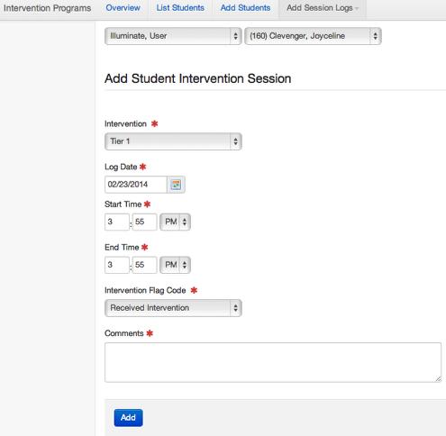 Single Student - Session Log