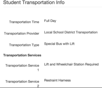 Transportation After the IEP is Published for a student that has Transportation in the IEP.