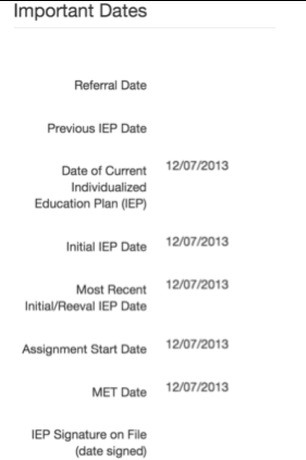 Important Dates Page after Initial IEP is Published.  Note: Page is not affected/changed by REED being open or closed.