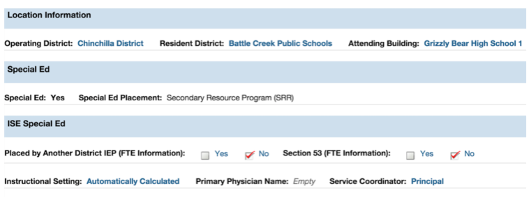 FTE Section of Demographics Page AFTER IEP is Published