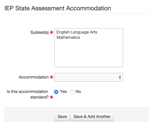 Add Accommodations as Appropriate to Each Subtest for Those Students who are Taking the General Assessment