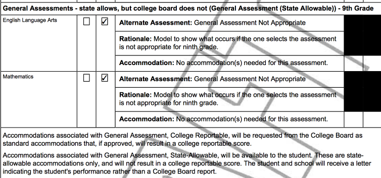 Example of Ninth Grade General Assessment Portion of the IEP PDF for a Student Taking the General Assessment (State Allowable)