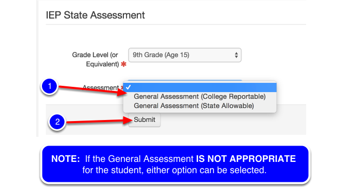 Select the Appropriate General Assessment Option