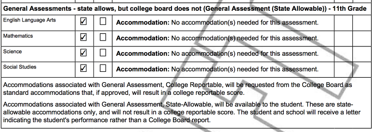 Example of the General Assessment Portion of the IEP PDF for a Student Taking General Assessment (State Allowable) for the Eleventh Grade