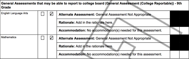 Example of Ninth Grade General Assessment Portion of the IEP PDF for a Student Where the General Assessment is not Appropriate