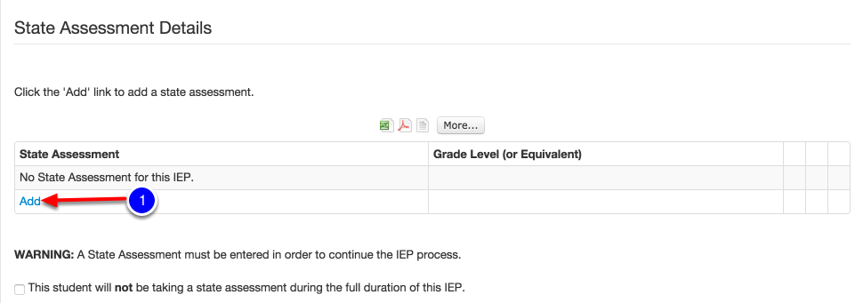 Begin on the State Assessment Details Page Within the IEP Process