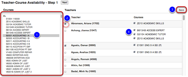 Add Course(s) for Teacher(s)