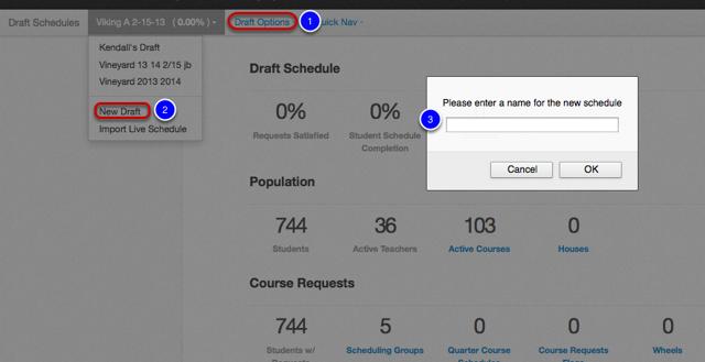 Create New Draft Schedule